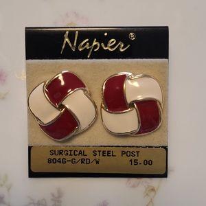 Napier vintage 80's pierced earrings enamel